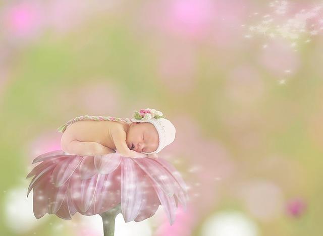 Bábätko spí na ružovom kvete.jpg
