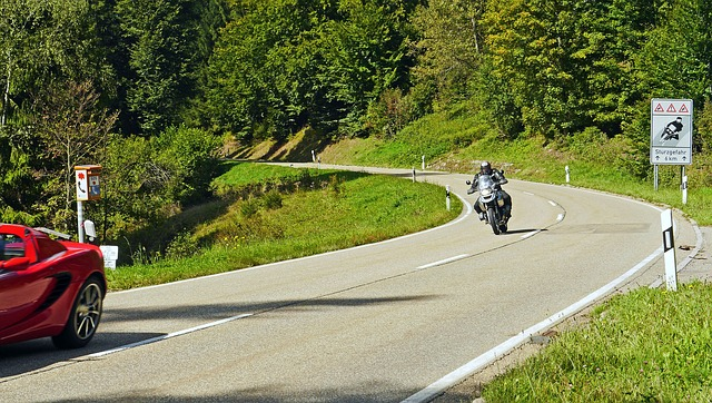 Jazdec na motorke, cesta, červené auto, príroda.jpg